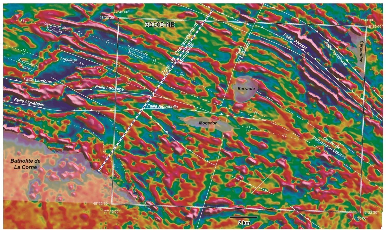 Cartes du gradient aéromagnétique de la région de Barraute-Est.