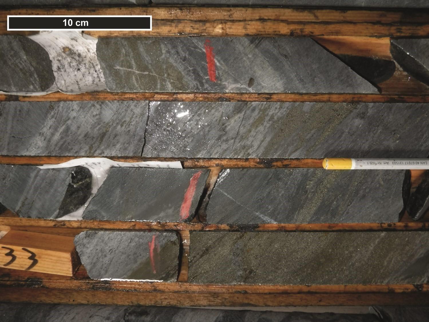 Gîte Barvallée, sulfures massifs et semi-massifs, forage VD-96-02, Fm de Lanaudière